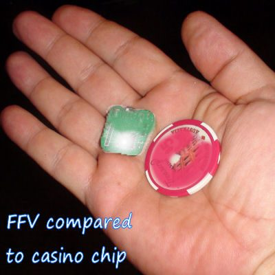 FFV roulette computer compared to casino chip
