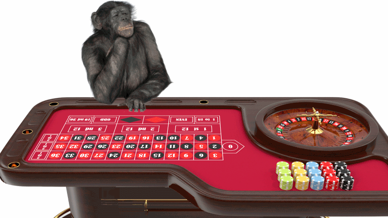 Roulette table with monkey